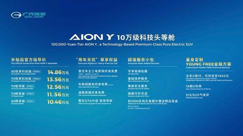 """""""10万级科技头等舱""""AION Y上海车展上市 补贴后售价10.46万元起"""